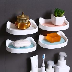 可愛貓咪造型肥皂盒 雙層快速瀝水架 壁掛式香皂架 簡約肥皂架