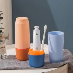 分隔牙刷收納盒 鑽石旅行洗漱用品收納杯 撞色牙刷盒 牙刷牙膏收納盒