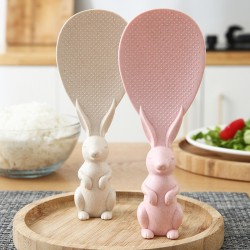 可愛兔子站立式飯匙 小麥秸稈兔子造型飯匙 創意立體兔子造型飯匙