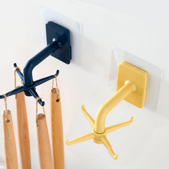 壁掛式多功能旋轉掛勾 廚房浴室多功能置物掛勾 黏貼式門後掛勾