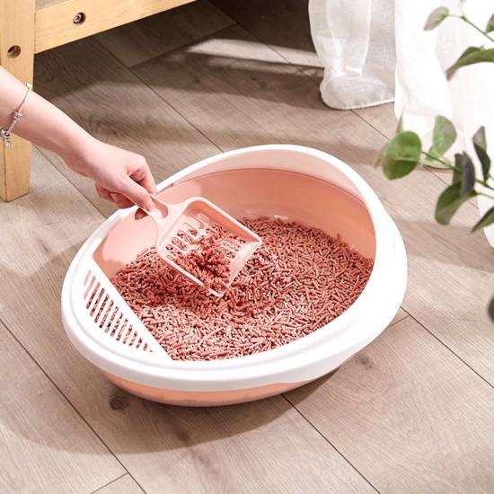 圓形半封閉式貓砂盆 創意加高大號貓砂收納盆 創意可拆式貓砂盆