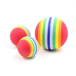 寵物磨牙彩虹球 七彩玩具棉球 貓咪狗狗玩具球 玩具彩虹球