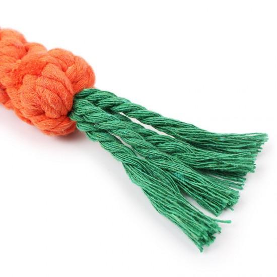手工編織胡蘿蔔造型磨牙玩具 創意狗狗棉繩玩具 寵物潔牙磨牙玩具