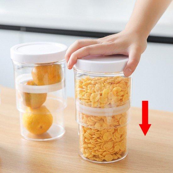 可伸縮密封儲物罐 按壓式真空五穀雜糧收納罐 廚房必備食品保鮮盒 密封罐