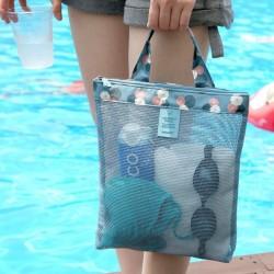 夏日必備游泳沙灘包 網格洗漱用品收納包 外出必備手提袋