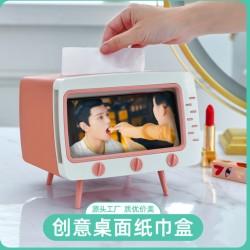 創意電視機造型面紙盒 塑膠多功能復古電視手機支架 追劇必備