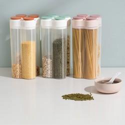 分隔五穀雜糧收納罐 透明廚房密封罐 食品儲物罐 廚房必備保鮮罐