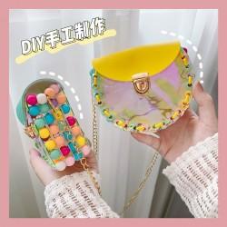 創意鐳射DIY串珠編織包包 創意手工少女包 造型彩色串珠斜背包