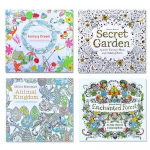 紓壓手繪著色本 魔法森林創意著色本 塗鴉本 祕密花園紓壓著色本
