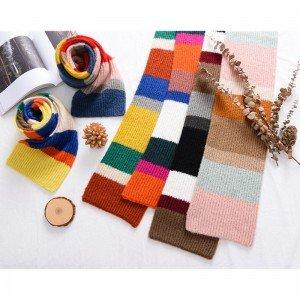 拼色針織毛線圍巾 秋冬必備保暖針織圍巾 可愛兒童撞色圍巾