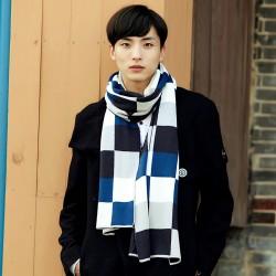 時尚保暖大格子圍巾 秋冬加厚超長圍巾 冬季必備保暖圍巾 型男必備圍巾