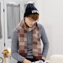 秋冬加厚針織毛線圍巾 時尚超長冬季必備格子圍巾 型男必備圍巾