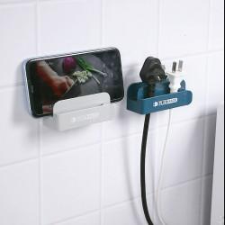 簡約電源插頭固定器 多功能手機充電支架 創意壁掛式插頭收納架