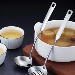 304不鏽鋼可掛式湯匙 一體成型多功能漏勺 廚房不鏽鋼火鍋湯匙