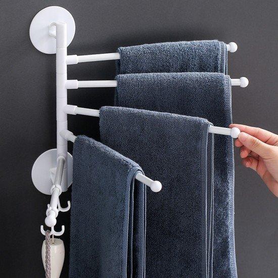 多功能旋轉毛巾架 簡約摺疊壁掛式毛巾架 浴室必備多用途掛勾 掛架