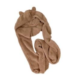 [館長大推]小熊保暖帽子圍巾 冬季保暖頭套 可愛造型小熊耳朵帽子圍巾 可愛小熊保暖帽子圍巾