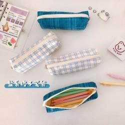 創意復古簡約筆袋 格子系列文具收納袋 多功能文具袋