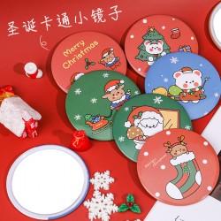可愛聖誕節小圓鏡 迷你方便攜帶化妝鏡 隨身補妝鏡 小鏡子 聖誕老人麋鹿雪人小熊