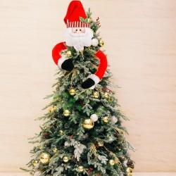 創意聖誕抱樹樹頂星 可愛聖誕樹頂裝飾 聖誕老人雪人迷路抱樹 長手娃娃