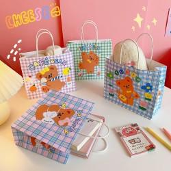 可愛小熊格紋手提紙袋 創意禮物提袋 多功能包裝袋 禮品交換禮物收納袋