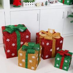 聖誕禮物盒 聖誕節必備裝飾禮物 創意聖誕裝飾金蔥禮物盒