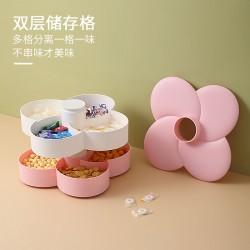 雙層旋轉糖果盒 創意多格水果果乾收納盒 春節必備繽紛糖果盒
