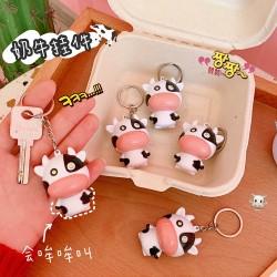 可愛乳牛造型發光鑰匙圈 多功能汽車機車鑰匙圈 可愛書包吊飾