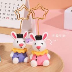 可愛兔子造型memo夾 創意動物造型照片夾 桌面名片夾 留言記事夾