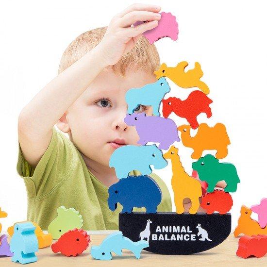 動物積木平衡玩具 木製疊疊平衡積木益智桌遊 創意動物蹺蹺板
