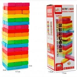 木製54片彩色疊疊樂 層層疊 益智玩具 積木疊疊樂桌遊