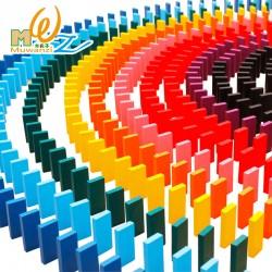木製彩色骨牌玩具 1000片機關比賽骨牌玩具 疊疊樂積木玩具 骨牌