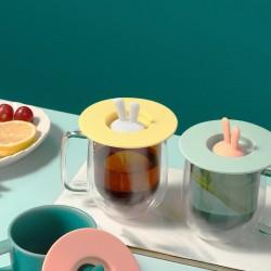 兔耳朵創意矽膠杯蓋 防塵雙色多用途密封蓋 防塵防漏居家必備杯蓋