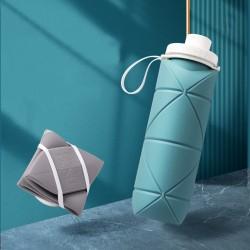 矽膠摺疊運動水壺 600ml耐摔耐磨壓縮摺疊水杯 創意旅行杯 方便攜帶摺疊水壺