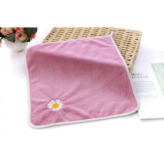 超細纖維小雛菊方巾 可愛小花吸水小毛巾 加厚不掉毛擦手巾