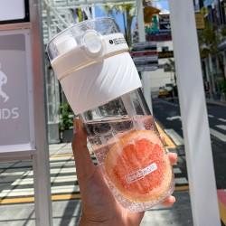 創意彈跳杯蓋雙飲杯 小清新冷水壺 創意防滑吸管杯 500ml寬口飲料杯