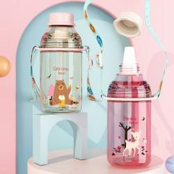 創意塑膠隨手杯 學生必備冷水壺 可愛圖案吸管水壺 400ml大口徑水壺