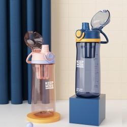 彈跳杯蓋運動冷水壺 創意搖搖攪拌杯 650ml手提運動水壺 刻度直飲杯