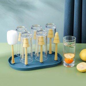 多功能瀝水森林杯架 創意杯盤瀝水架 奶瓶茶杯6支杯架