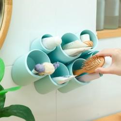 壁掛式7孔斜插式收納盒 創意多孔桌面文具收納盒 浴室收納架 化妝品收納架