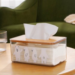 可愛小熊透明面紙盒 簡約客廳臥室桌面抽取式面紙盒 車用紙巾盒