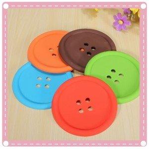 鈕扣造型矽膠杯墊 圓形紐扣杯墊