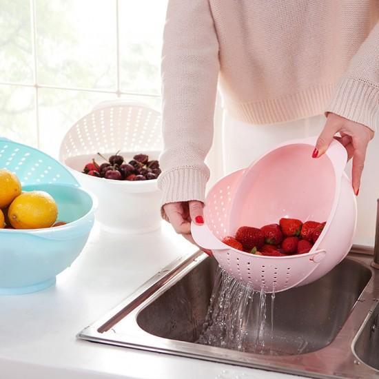 翻蓋濾水籃可旋轉瀝水籃三合一淘米器廚房洗水果塑膠盆