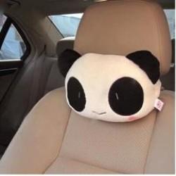 可愛卡通熊貓毛絨車用護頸枕 靠墊 抱枕