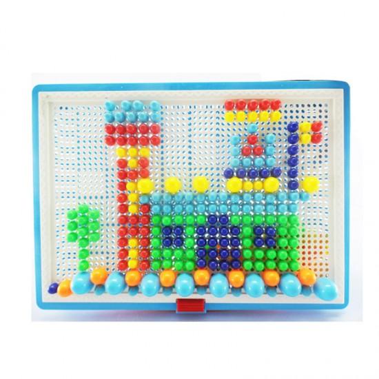 兒童益智玩具 蘑菇釘插板 拼裝玩具