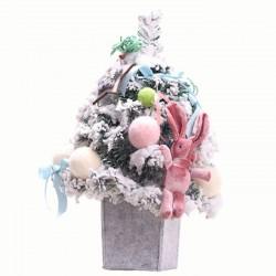 【24小時出貨 今日買1送1】精美小兔植絨聖誕樹 可愛小羊裝飾聖誕樹 聖誕節佈置 交換禮物