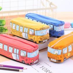 創意學生文具小動物巴士筆袋 鉛筆盒 帆布文具袋