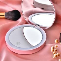 可折疊雙面LED燈化妝鏡 補光燈隨身化妝鏡 方便攜帶隨身鏡 鏡子