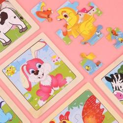 可愛動物圖案益智拼圖 益智玩具 木質小號9片拼圖
