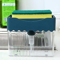 波浪按壓式洗碗神器 廚房必備洗碗精收納盒 洗碗刷 廚房清潔好幫手