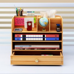 多功能文件收納架 創意多格桌面文件置物架 辦公文具收納盒